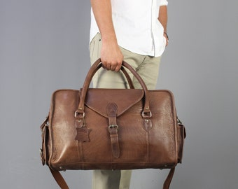 The Vagabond Medium: Vintage style brown leather holdall duffle duffel weekend bag cabin flight unisex mens personalized luggage tag gift