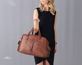 The Vagabond Overnight Bag: Vintage style brown leather holdall duffle carry on flight luggage unisex womens personalised gift set monogram