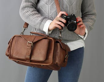 PRE ORDER ONLY The Vagabond Camera Bag: Vintage style brown leather camera bag unisex womens