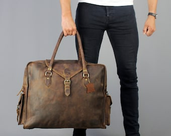The Vagabond Extra Large waxed: Vintage style brown leather holdall duffle weekend bag flight cabin luggage unisex mens personalised gift