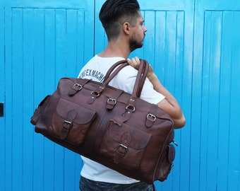 The Vagabond Duffel: vintage style brown leather holdall duffle gym weekend bag luggage unisex mens optional extra personalised embossed tag
