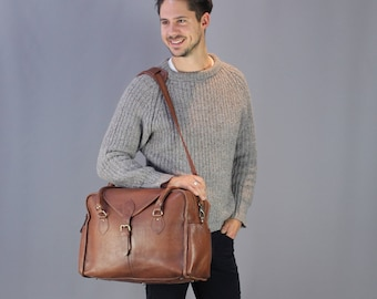 The Vagabond Family Bag: vintage style brown leather diaper holdall hospital bag carry on flight luggage mens baby nappy