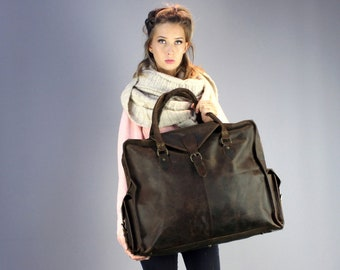 The Vagabond Extra Large waxed: Vintage style brown leather holdall duffle weekend bag flight cabin luggage unisex womens personalised gift