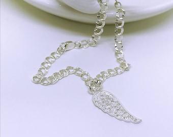 Sterling silver Angel wing bracelet, angel wing charm, silver angel wing, sterling silver bracelet, silver bracelet, CZ bracelet, angel wing