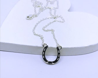 6f4047bde3a276 Sterling silver Horseshoe necklace, Lucky horseshoe necklace, Horse shoe  necklace, Horse lover gift, Equestrian necklace, Equestrian jewelry