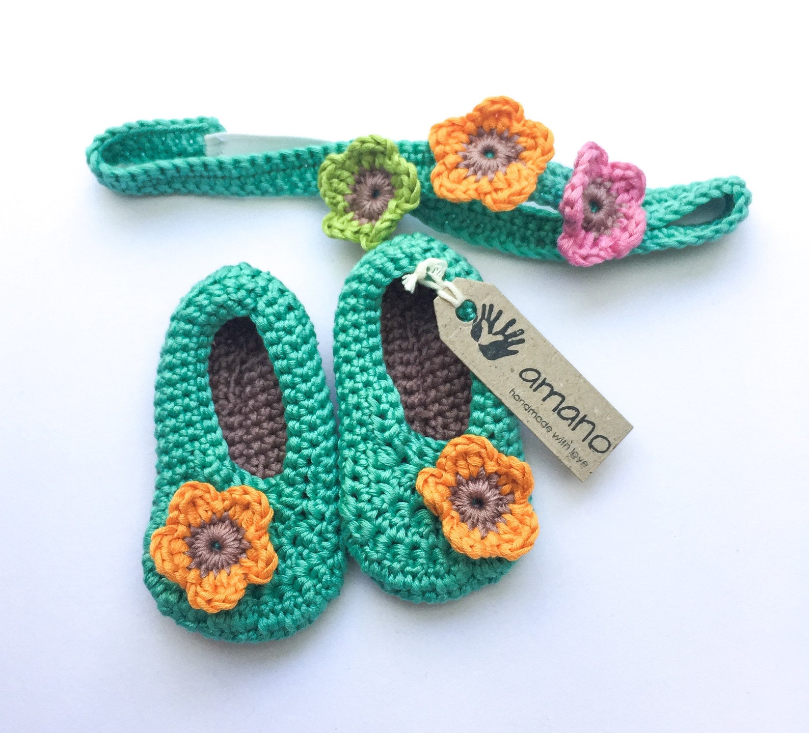 baby headband and bootie set / girls ballet shoes / baby pumps / baby shoes / crochet booties / girls headband /