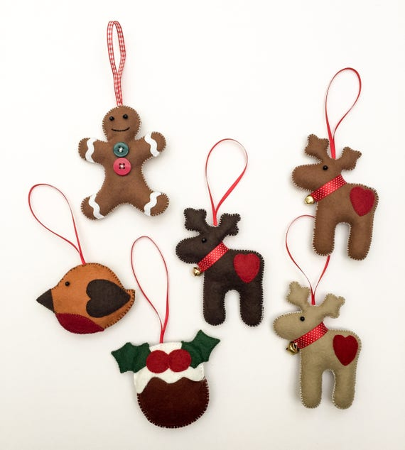 Christmas Decorations.Felt Christmas Tree Decorations Christmas Decor Gingerbread Man Reindeer Christmas Pudding Robin Felt Hanger Felt Decorations