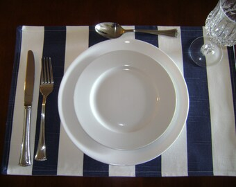 Navy/White Stripes Placemats,  Navy Stripes Placemats, Table Linen