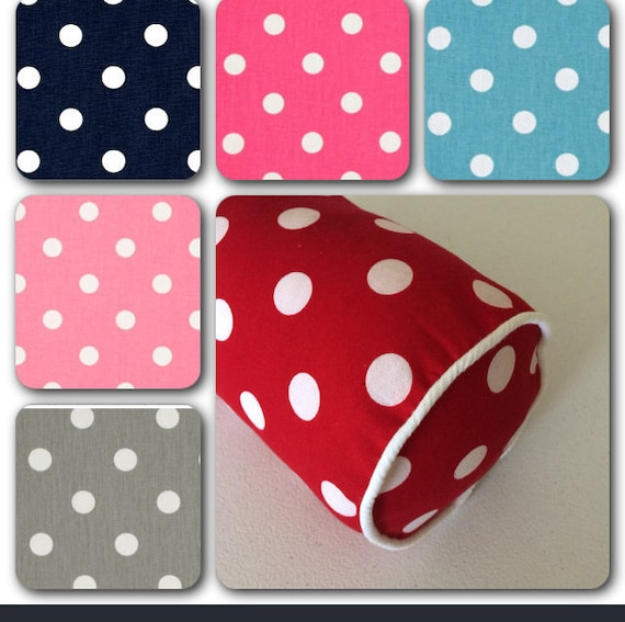 "Round 16/""x6/"" Bolster Cylinder Cushion Cover Pink and White Polka Dots Spot"