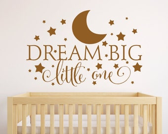 Dream Big Little One Wall Decal, Nursery Wall Decal, Nursery Decor, Bedroom Decor, Kids Wall Art, Star Wall Decals, Nursery Wall Quote