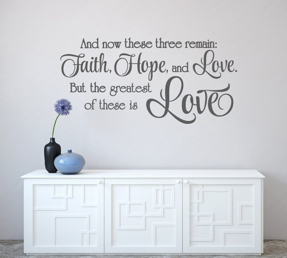 Scripture Wall Decal Faith Hope and Love Decal Love Vinyl Wall | Etsy