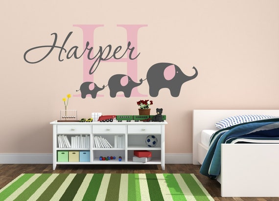 childrens name elephant wall decal elephant name decal nursery | etsy
