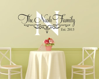 Family Name Wall Decal Personalized Family Wall Decal Family Established Date Vinyl Wall Decal - Family Decor Custom Family Wall Decal