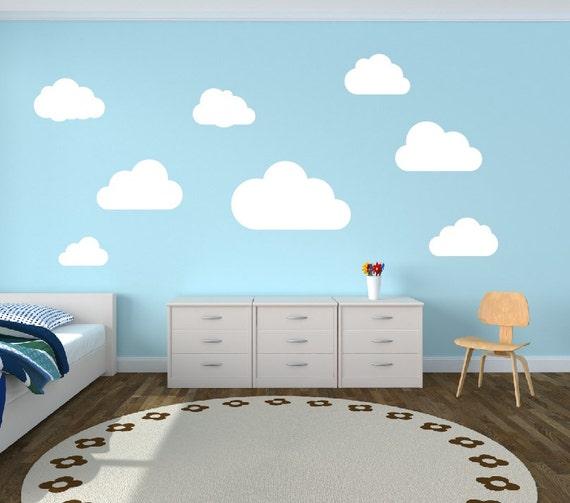 Nuage mur Stickers nuages pépinière mur autocollant Set de 8 nuages sticker  mural - enfants chambre décor enfants salle chambre ADO vinyle mural ...