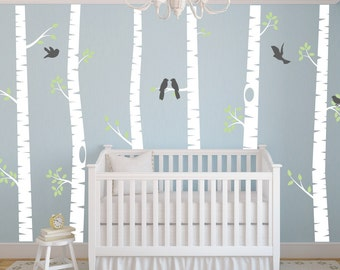 Nursery Wall Decor Birch Tree Wall Decal - Bird Wall Decal - Nursery Wall Decal - Woodland Wall Decal - Vinyl Wall Decal - Vinyl Wall Art