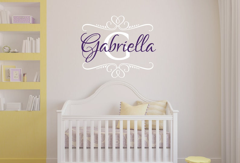 a6dc462a60b1a Personalized Name Wall Decal Shabby Chic Baby Girl Name Wall Decal Heart  Decal Monogram Wall Decal Nursery Decor Nursery Wall Decal