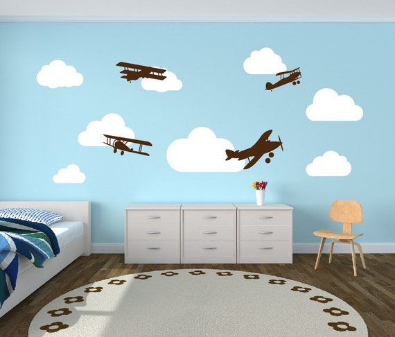 wall decal airplanes with clouds wall decal childrens room | etsy