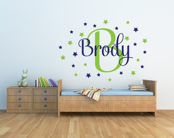 Star Wall Decal Name Wall Decal Personalized Name Decal Star Nursery Decor Vinyl Wall Decal Star Decal