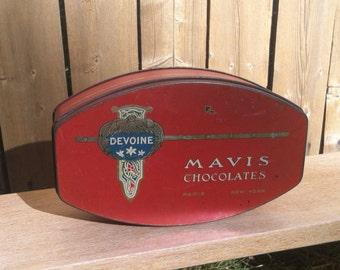 Vintage Red Mavis Chocolate Tin