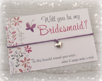 Will You Be My Bridesmaid? Heart Charm Wish Bracelet Gift & Envelope ~ Floral