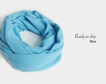 Seamless pure cashmere cowl / Infinity scarf / Men scarf / Women scarf / Men cowl / Women cowl / Cowl / Pure cashmere / Neck warmer / Blue