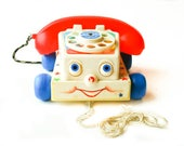 Vintage Fisher Price Chatter Telephone 1985 Childrens Baby Toddler Pull Toy Rotary Dial Bell Rolling Eyes Fisher Price Phone