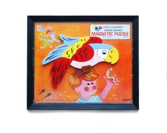 Vintage Magnetic Puzzle Child Guidance inlaid plastic 12 pieces No. 911 Parrot 1962