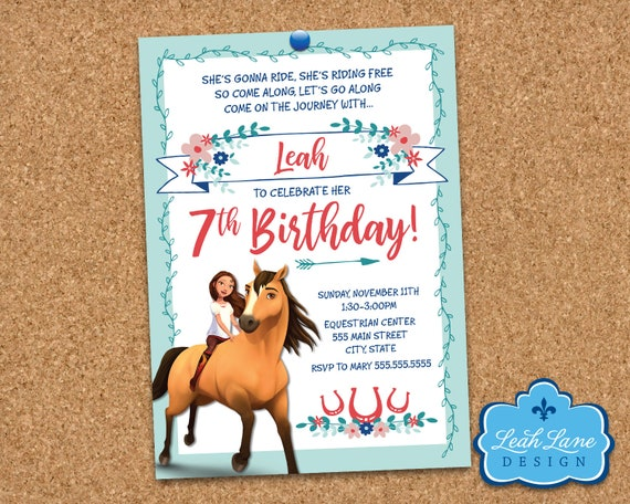 Spirit Riding Free Birthday Invitation