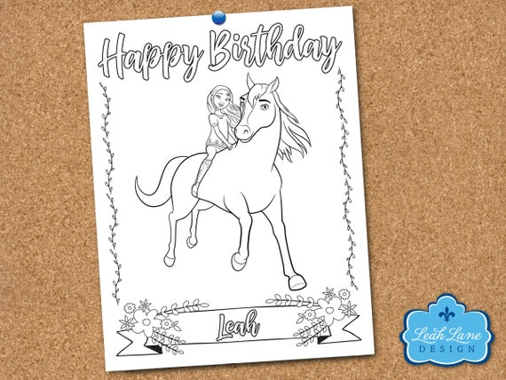 Spirit Riding Free Girls Horse Party Personalized Printable Etsy