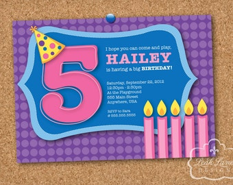 Cute, Any Age, Girls Pink, Purple and Blue Birthday Party Personalized Printable Invitation