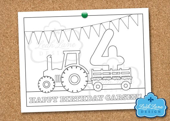 Tractor Hayride granja cumpleaños personalizado hoja   Etsy