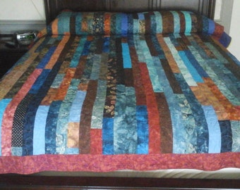 Blue and Brown Scrappy Strip Quilt