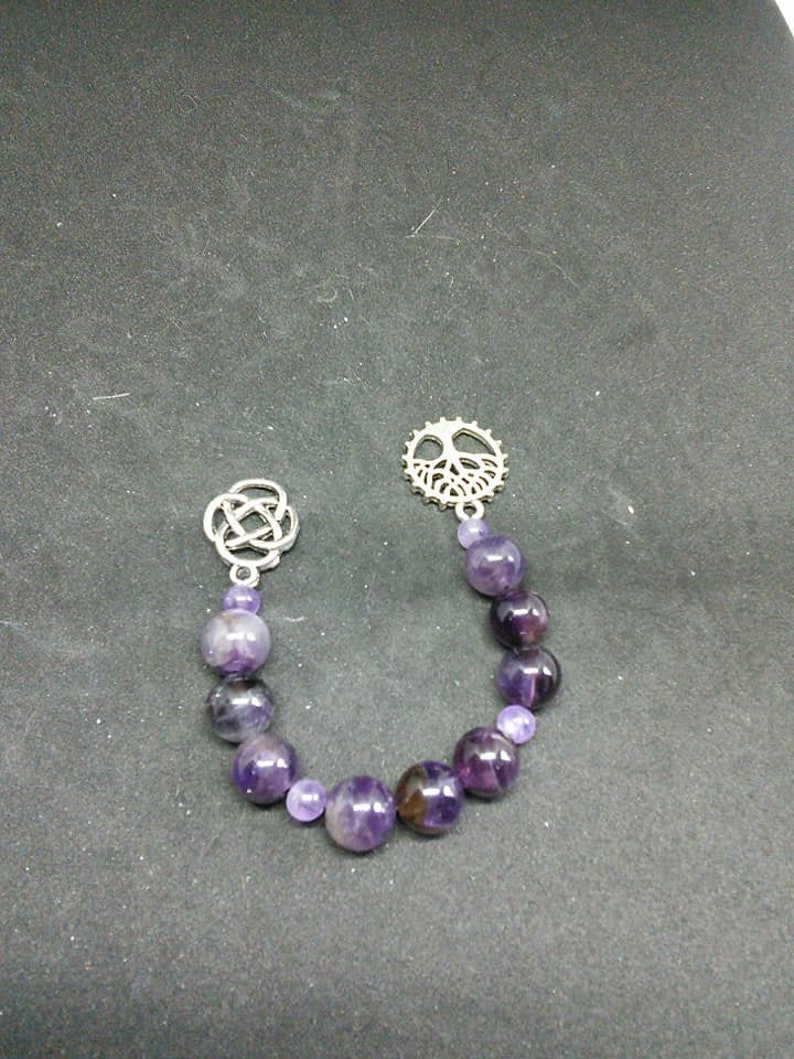 Amethyst pagan prayer beads, meditation beads, witches ladder nine bead and  pendulum