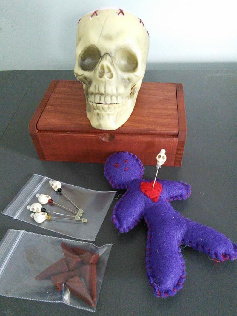 Pre-filled Voodoo Hoodoo Santeria wooden box, doll, and pin kit