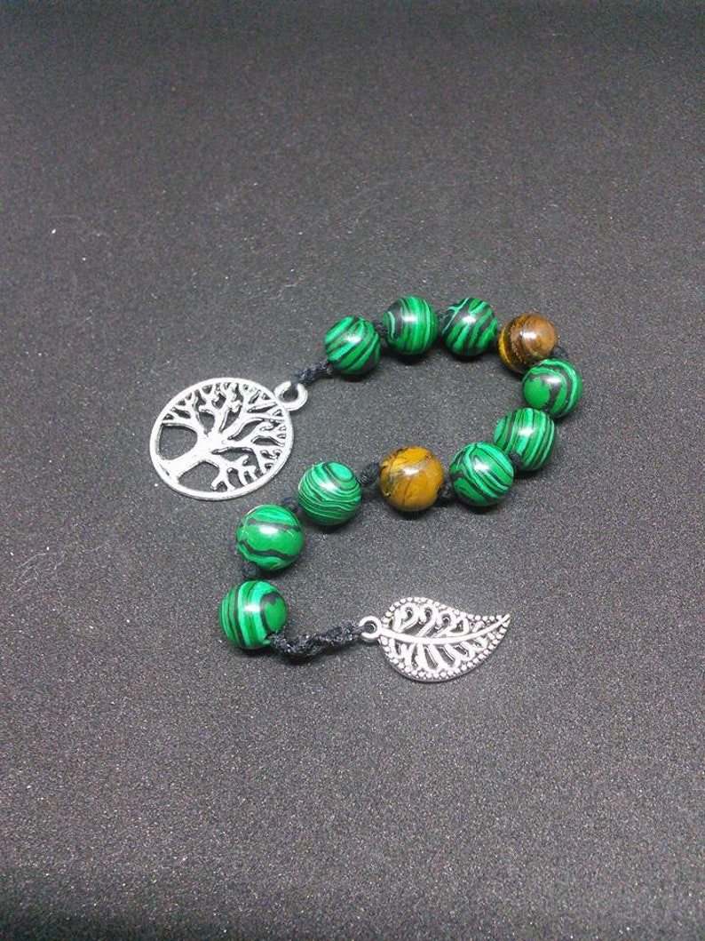 Wicca Prayer Malachite beads, meditation beads, witches ladder nine bead