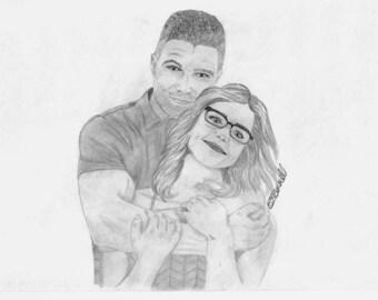 "Arrow Oliver & Felicity ""Olicity"" sketch"