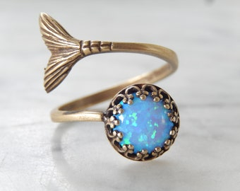 Opal and Mermaid Tail Sterling Silver Wrap Ring