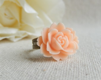 Peach flower ring,Flower jewelry,,Shabby chic flower ring,Unique gift
