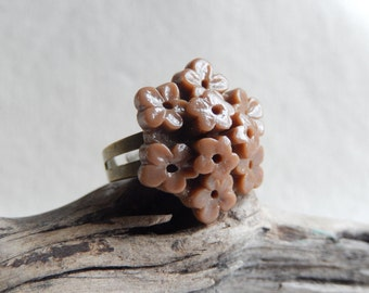 Flower ring,Large Brown flower ring,Flower jewelry,Statement jewelry,Unique gift
