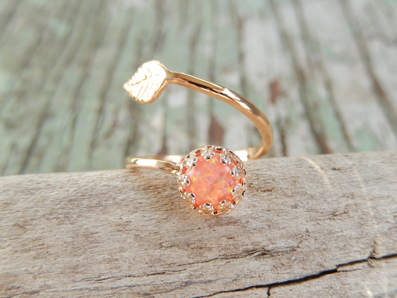 Rose gold Opal Ring,October birthstone,Orange Opal Leaf Ring,Stacking ring,Girls jewelry,Unique gift for her,Women/'s jewelry,Handmade ring