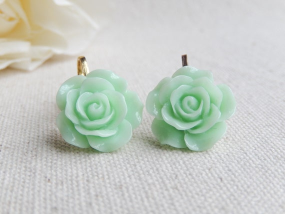 Clip-on earrings,Pastel flower clip earrings,Clip on flower earrings,Non pierced earrings Mother Daughter,Mommy and me,Girl gift Unique gift