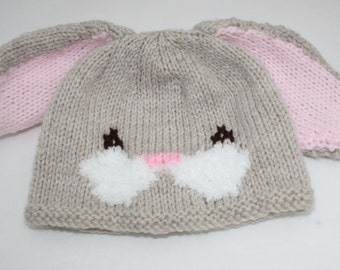 f1898d5d51e Hand Knitted Unisex Baby Easter Bunny Rabbit Hat    Size 0 - 6 Months     Cute Baby Gifts    Baby Easter Gifts    Easter Bunny Baby Hat