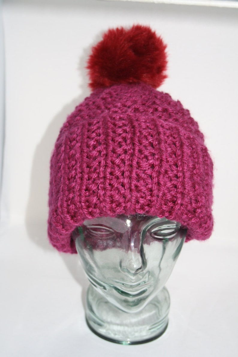 227dbfa3f70 Hand Knitted Bobble Hat with Pompom    One Size    Gifts for