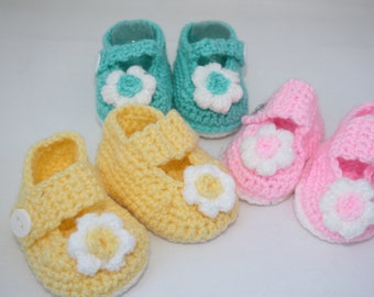 SPECIAL OFFER // 3 pairs of shoes // Crochet Mary Jane's // shoes for new born // Pink shoes // green shoes // Lemon shoes // crib shoes