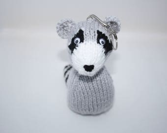 Raccoon bag charm //Raccoon key chain // Knitted raccoon bag accessories // Hand knits for gifts // Raccoon key ring // Bags and purses