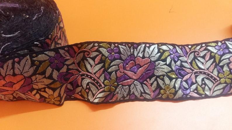 7 Yads Indian Vintage Silk fabric Indian Lace Trim Floral Parsi Embroidered ThreadWork Trim,Home Decor Belly Dance Saree Border Sari Trim