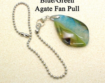 Blue Green Agate Fan Pull Chain/ Decorative Fan Pull / Fan Pull, Fixture, Ceiling Fan, Ceiling Fan Pull, Light Pull, Chakra Stones
