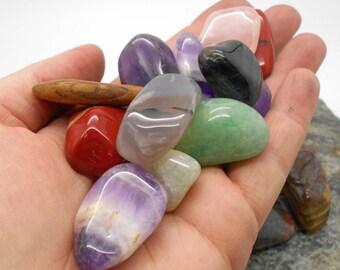 Stones, Tumbled Stones, 1/4# Tumbled and Polished Mixed Stones - Polished Stones, Tumbled Stones, Chakra, Reiki