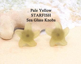 Knobs / PALE Yellow STARFISH / Glass Knobs, Cabinet Knobs, Beach Glass Starfish Cabinet Knobs  - Beach Decor, Starfish, Starfish Knobs