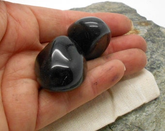 Stones, Tumbled Stones, Two Tumbled and Polished Apache Tears Stones - Polished Stones, Tumbled Stones, Chakra, Reiki, Mourning, Sorrow